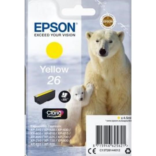 "EPSON ink bar Singlepack ""Lední medvěd"" Yellow 26 Claria Premium Ink"