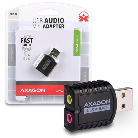 AXAGON ADA-10, USB2.0 - stereo audio MINI adaptér