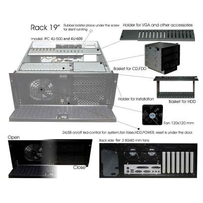 "IPC skříň 4U-500, 19"" Rack Black, bez zdroje"