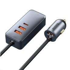 Baseus rychlo nabíječka do auta s prodlužovacím kabelem 3x USB-A, 1x Type-C 120W šedá