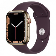 Apple Watch Series 7 Cell, 45mm Gold/Steel Case/Dark Cherry SportBand