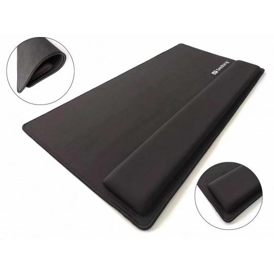 Sandberg podložka pod klávesnici a myš, opora zápěstí, 71,2 x 35 cm, černá