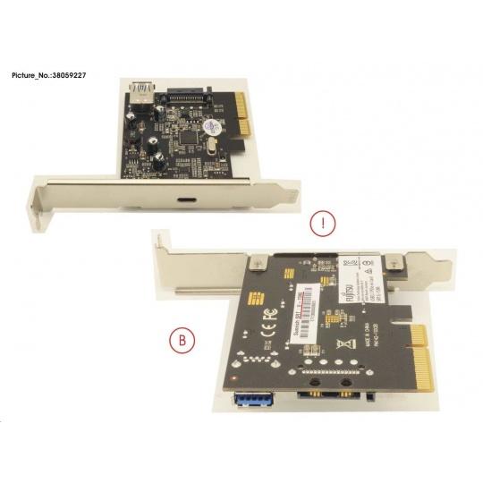FUJITSU USB 3.1 (gen2) Type-C PCIe x4 - 1x Type-C external on bracket, 1x internal
