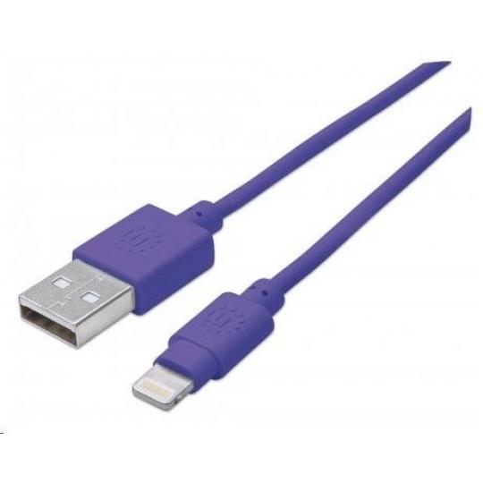 MANHATTAN iLynk Lightning Cable 1m pro iPad/iPhone/iPod fialový