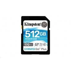 Kingston 512GB SecureDigital Canvas Go! Plus (SDXC) Card, 170R 90W Class 10 UHS-I U3 V30