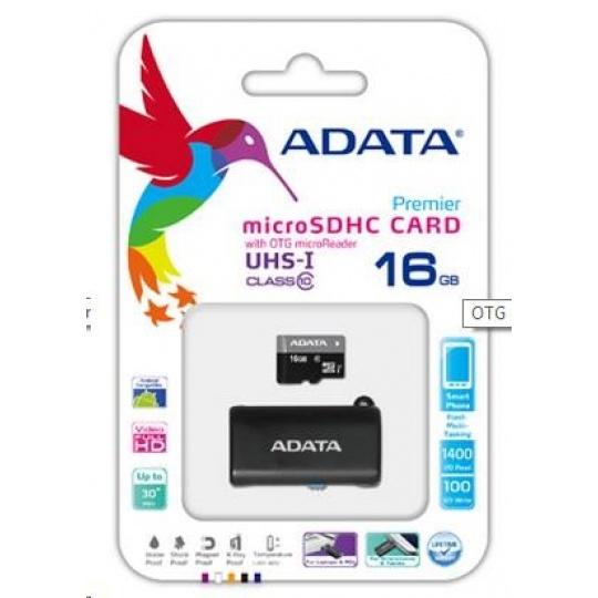 ADATA MicroSDHC karta 16GB UHS-I Class 10 + OTG čtečka USB 2.0, microUSB