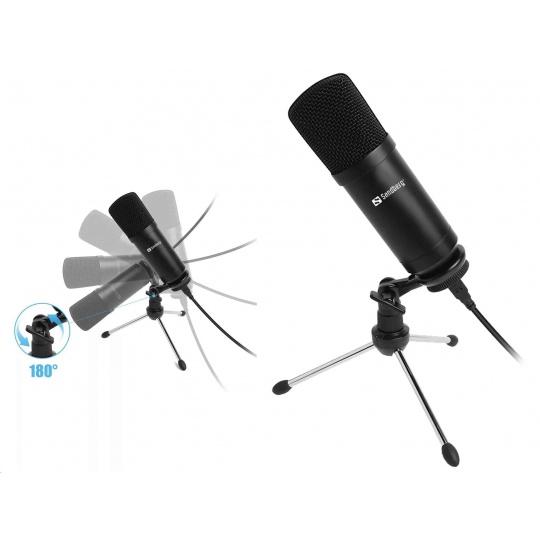 Sandberg stolní mikrofon pro streamování, USB, černá